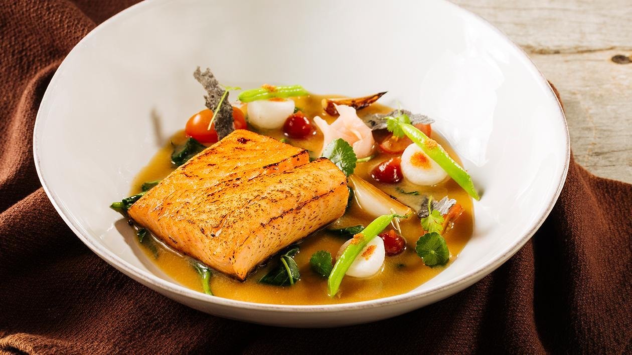 Salmon Aburi with Miso Tamarind Broth