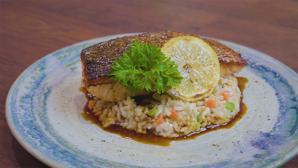 Yuzu Glazed Salmon with Brown Rice Risotto
