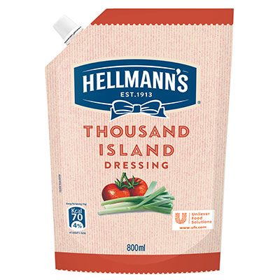 Hellmann's Thousand Island (12x800ml) - Hellmann's Thousand Island Dressing delivers consistent great taste and creamy texture to your salads in a convenient pack.