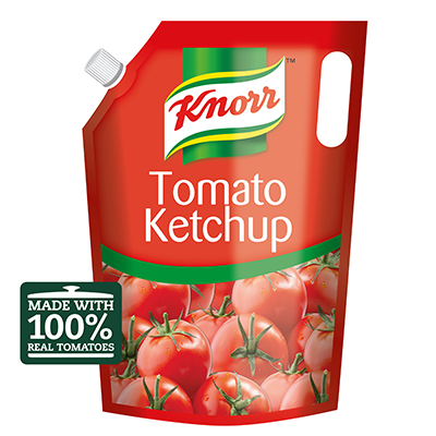 Knorr Tomato Ketchup (4x4kg) - Knorr Tomato Ketchup contains up to 65* tomatoes per 4 kg pouch