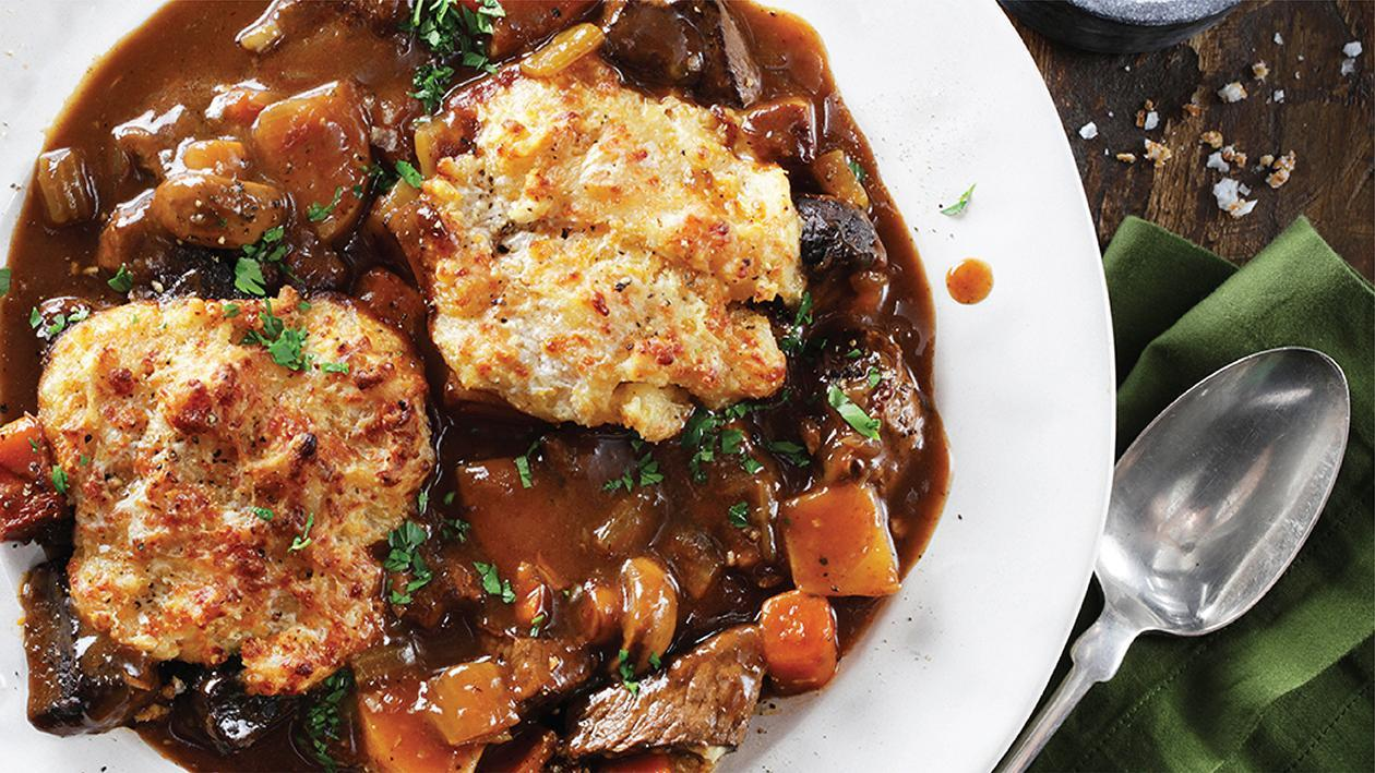 Beef Stew with Cheddar Corn Dumplings