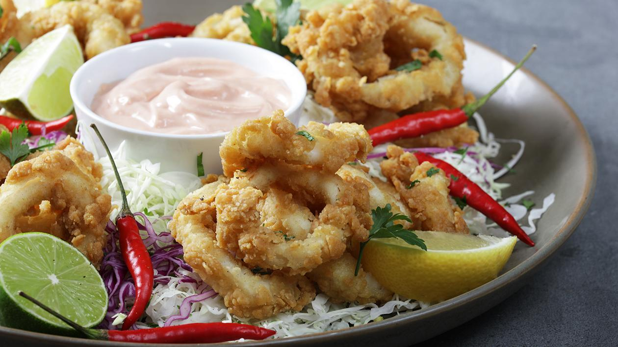 Chilli Lime Calamari Rings with Coleslaw Salad