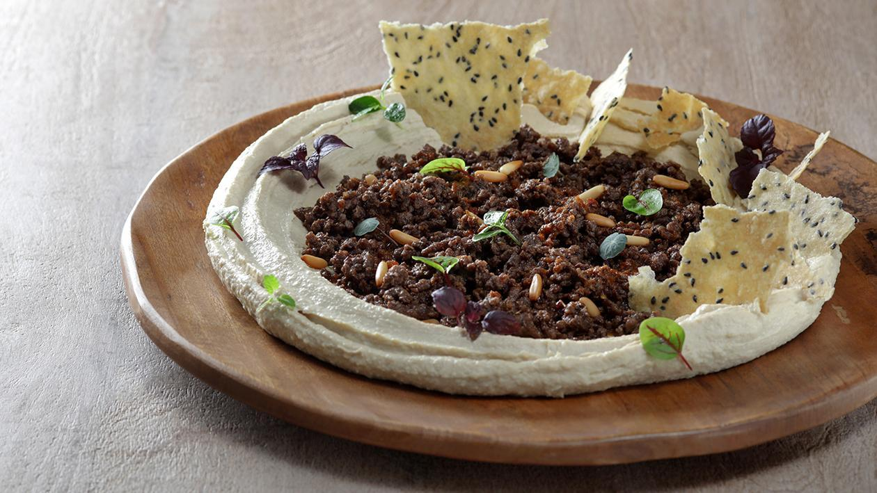 Coffee Scented Hummus with Lamb