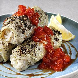Cabbage Roll with Chili Tomato Salsa