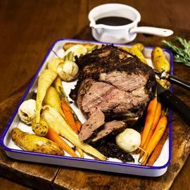 Mustard Crusted Lamb Roast with Root Vegetables