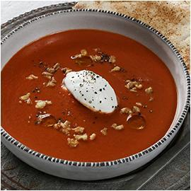 Tomato, Walnut and Labneh Soup