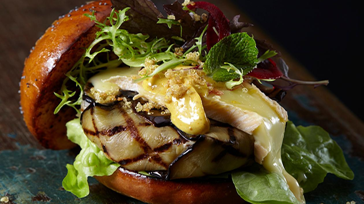 Aubergine Dijon Pesto Burger