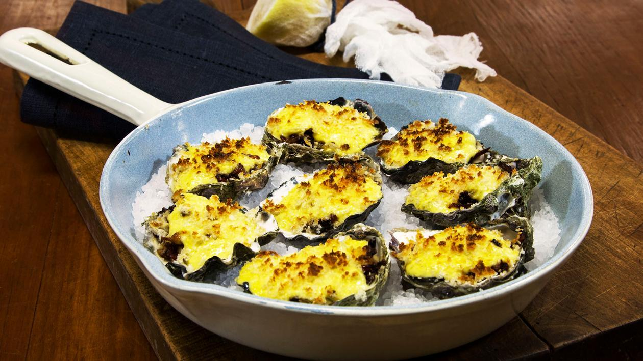 Baked Dijon Mustard Oysters with Smoked Cured Beef & Artichoke