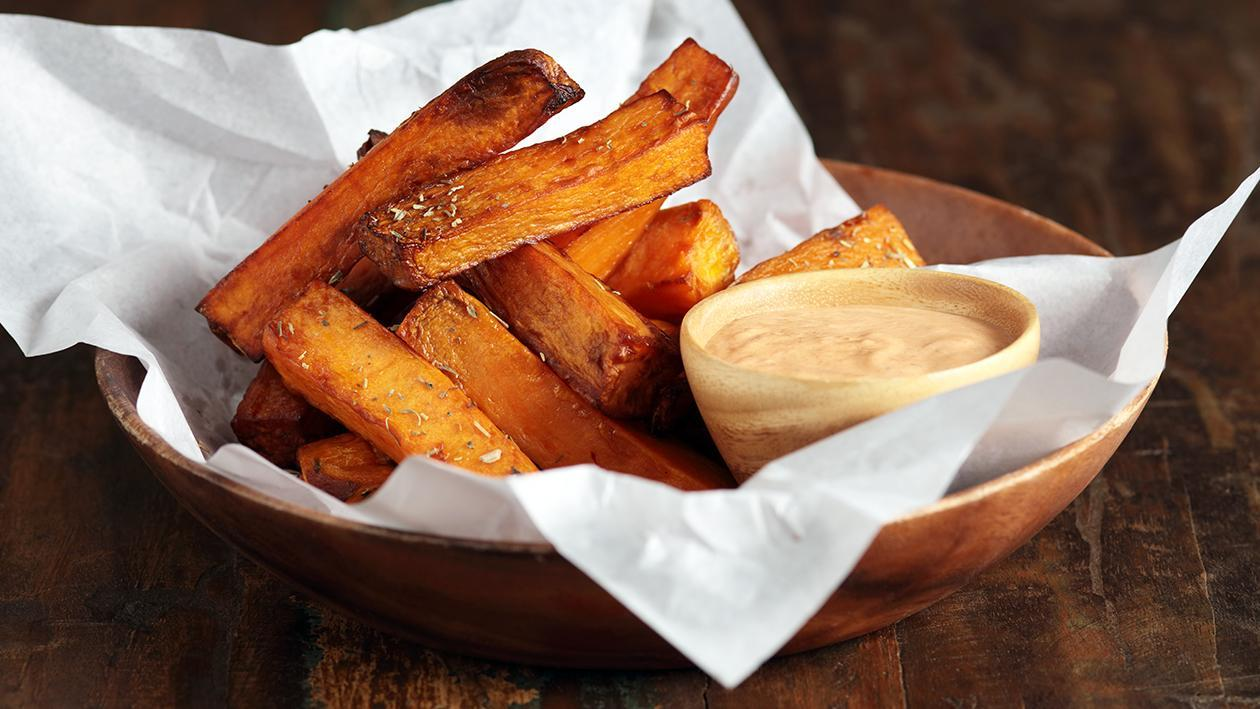 Baked Sweet Potato Fries & home-made Chipotle Mayo
