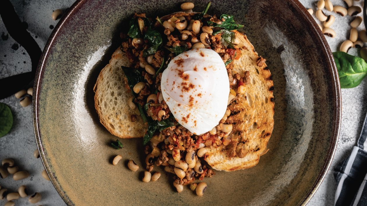 Braised Cow Peas on Toast and Poached Egg
