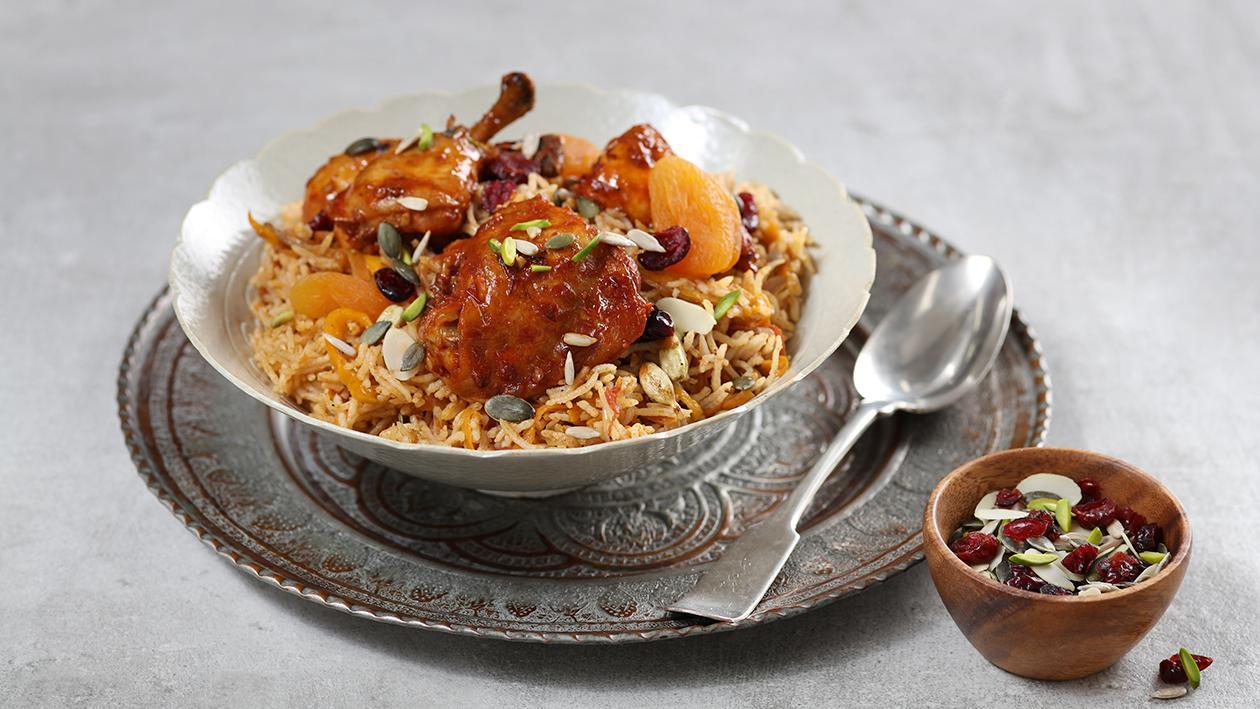 Chicken Kabsa with Nuts and Dried Fruits