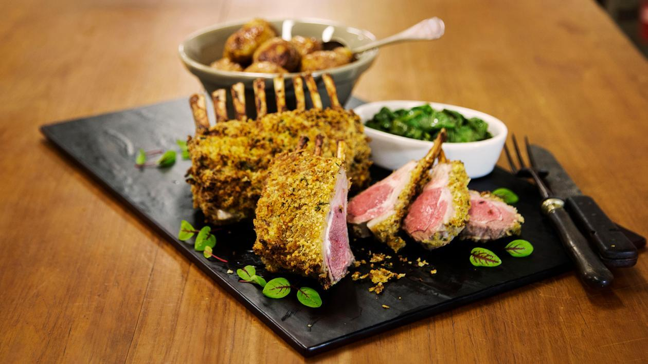 Dijon Crusted Lamb Rack with Roasted Potatoes and Spinach