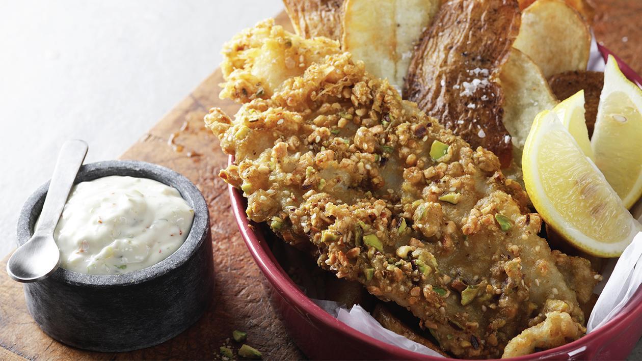 Dukkah Crusted Fish & Chips