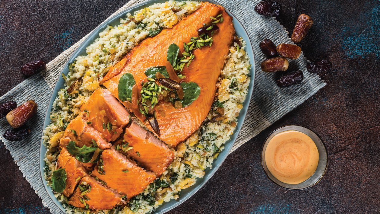 Harissa & Honey Glazed Salmon with Jewelled Cauliflower Couscous