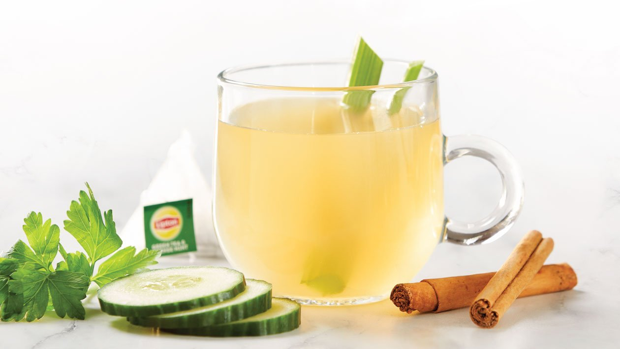 Minty Green Tea Infused with Celery and Cinnamon