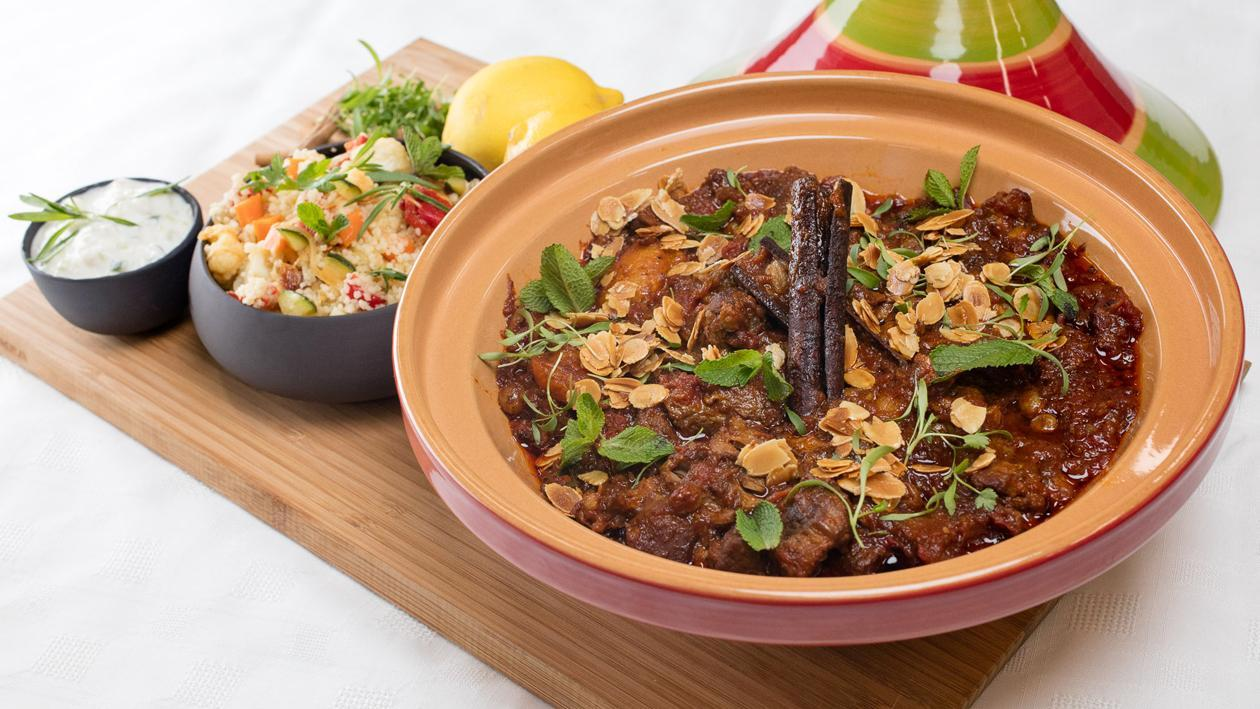 Moroccan Lamb Tagine, Vegetable Couscous and Preserved Lemon Yoghurt Dip
