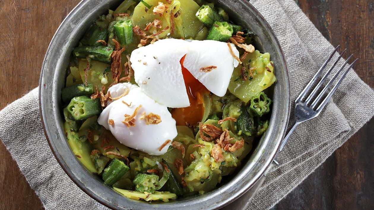 Okra and Eggs on Potatoes