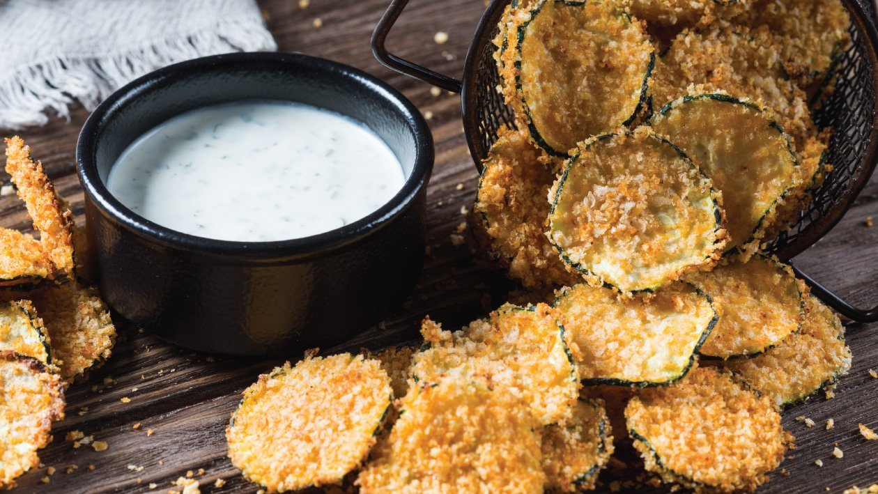 Oven Baked Zucchini Chips with Lime Yoghurt Dip Recipe