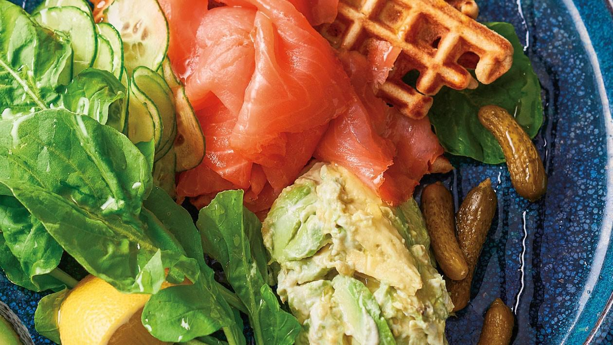 Potato & Buckwheat Waffles with Smoked Salmon