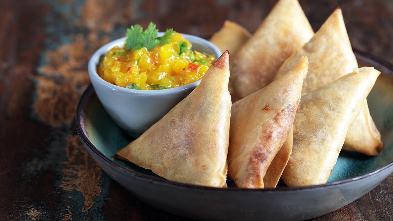 Smoked Chicken Samosa with Mango Chutney Recipe