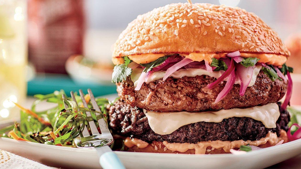 Spicy Korean Double Cheese Burger (lamb & beef patties) Recipe