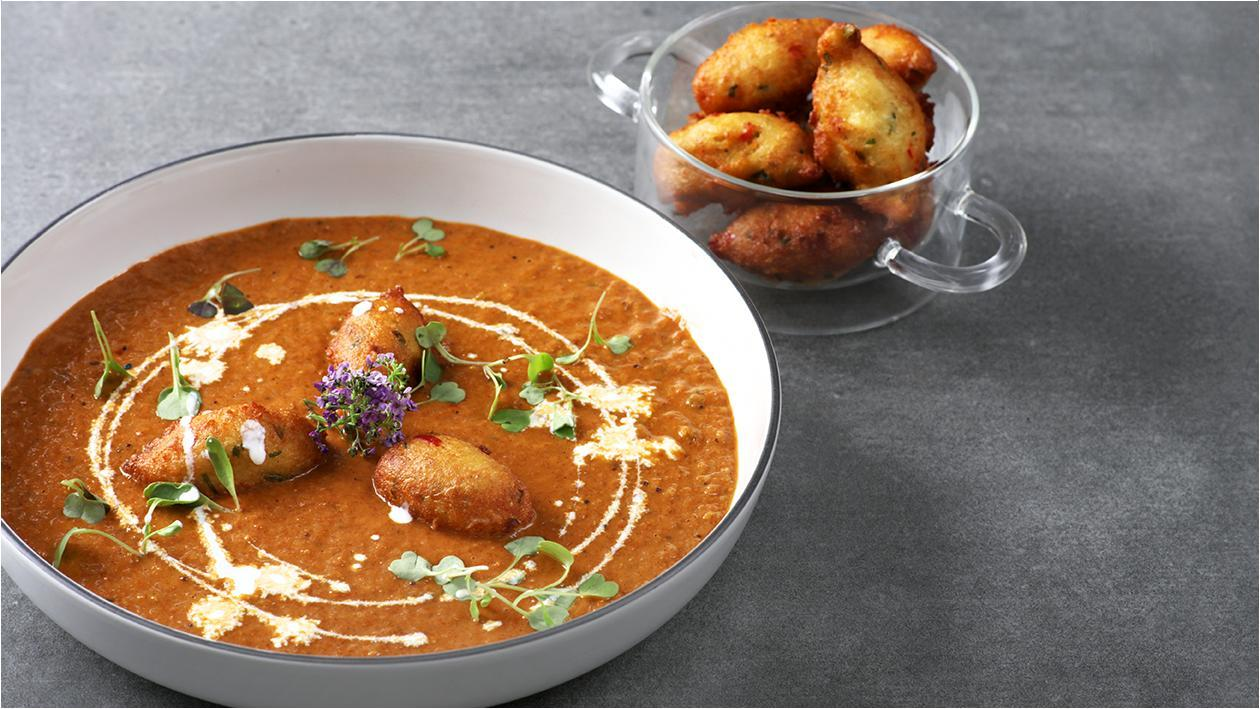 Spicy Tomato Soup with Dahl Pakora