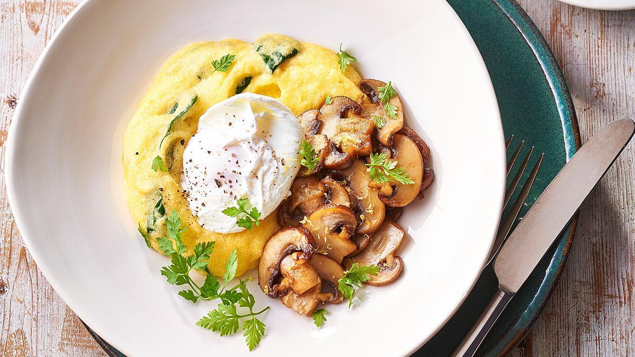 Spinach and Hollandaise Polenta, Fried Mushrooms, Poached Egg