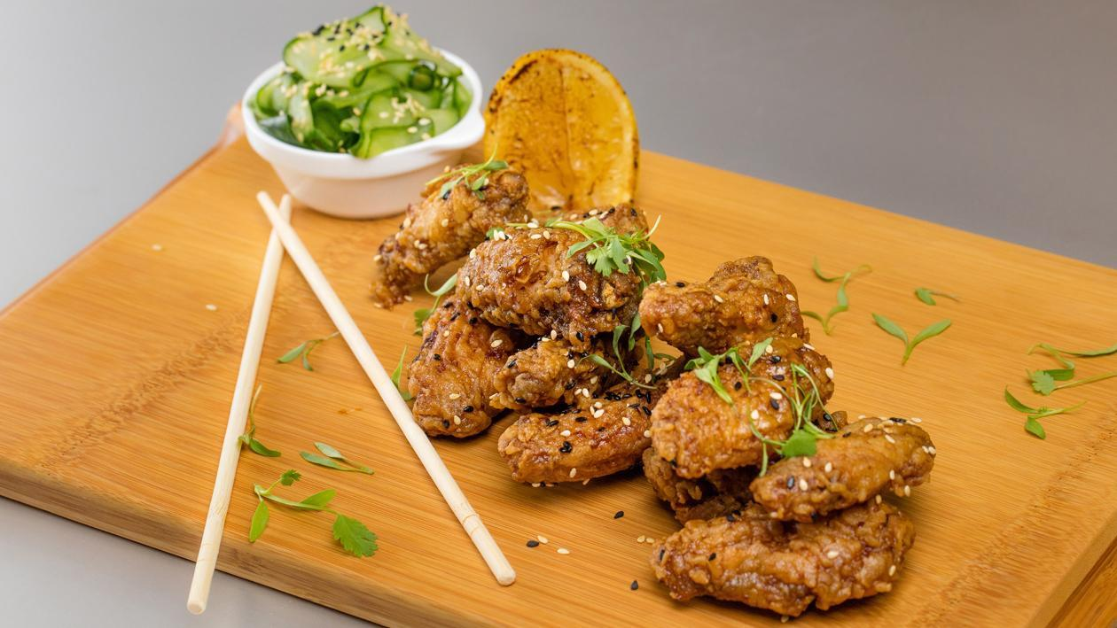 Sticky Teriyaki Chicken Wings with Sunomono