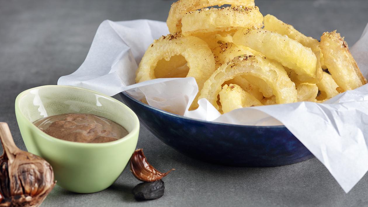 Tempura Onion Rings with Spiced Black Garlic Aioli  Recipe