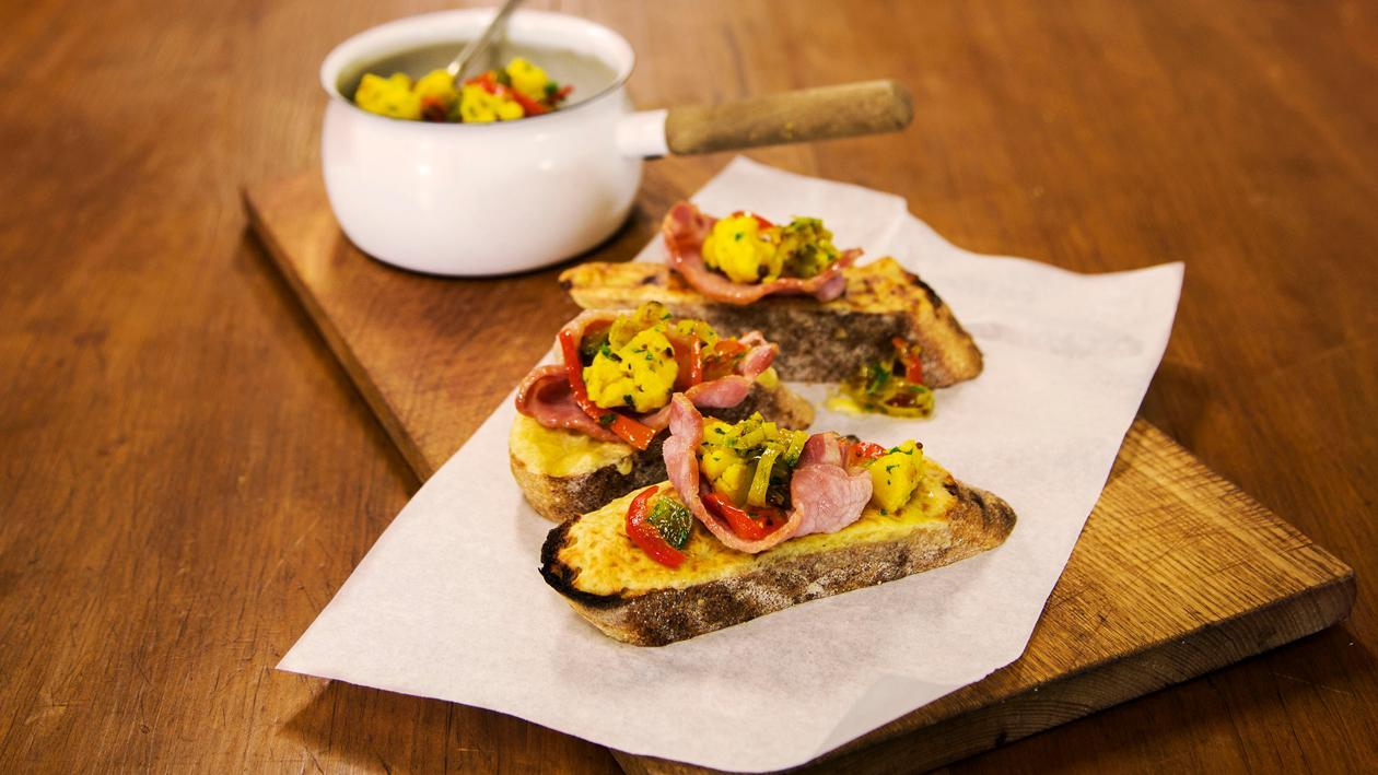 Welsh Rarebit with Pickled Vegetables