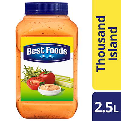 Best Foods Thousand Island Dressing 2.5L - Best Foods Thousand Island Dressing is made with real tomato and chunky gherkin relish to stay true to the authentic taste of this popular dressing.