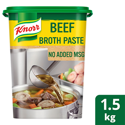 Knorr Beef Broth Base (No Added MSG) 1.5kg - Knorr's Beef Broth Base uses real ingredients to deliver a delicious meaty taste, without the need for added MSG.