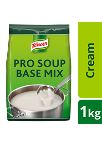 KNORR Pro Cream Soup Base Mix 1kg - Knorr Pro Cream Soup Base dissolves easily and is made to resist splitting, thus achieving smooth and creamy soup.