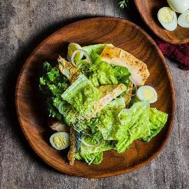 Caesar Salad with Sardines & Chicken