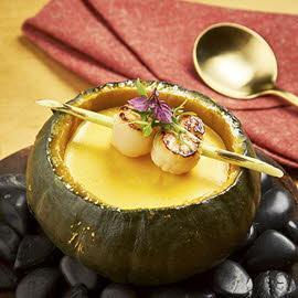 Cream of Pumpkin-Salted Egg Soup