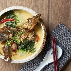 Fried Salmon Belly, Head in a Salted Egg Yolk & Coconut Soup