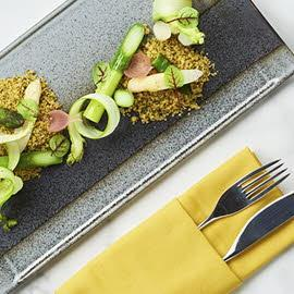 Green and White Asparagus, Nori Salted Yolk Crumble, Iberico Crisp
