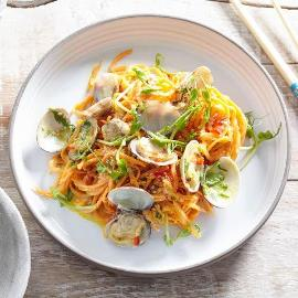 Sweet Potato Noodles and Clams with Spiced Coconut Dressing