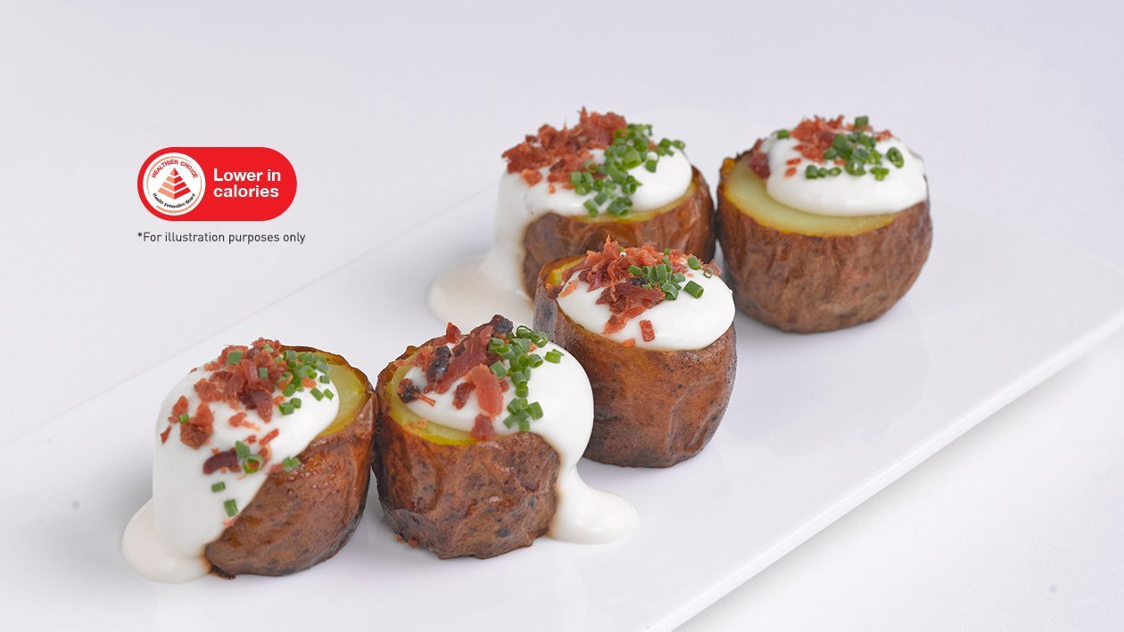 Baked Potatoes with Citrus Cream & Bacon Bits