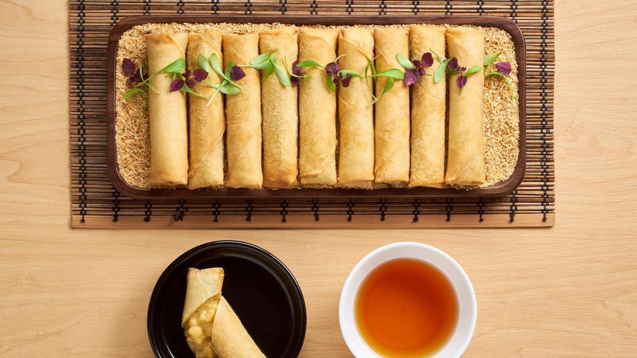 Banana Salted Egg Custard Spring Rolls