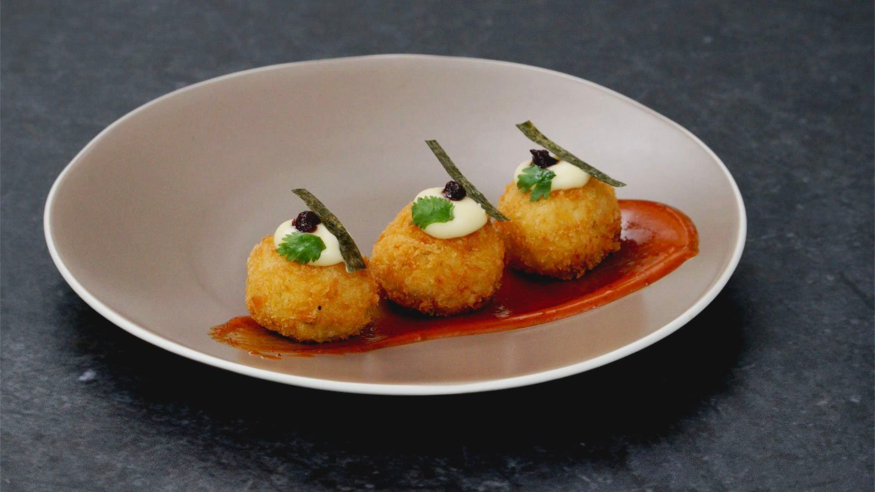 Beef Chorizo and Manchego Croquettes with Gochujang-Tom Yam Mayo