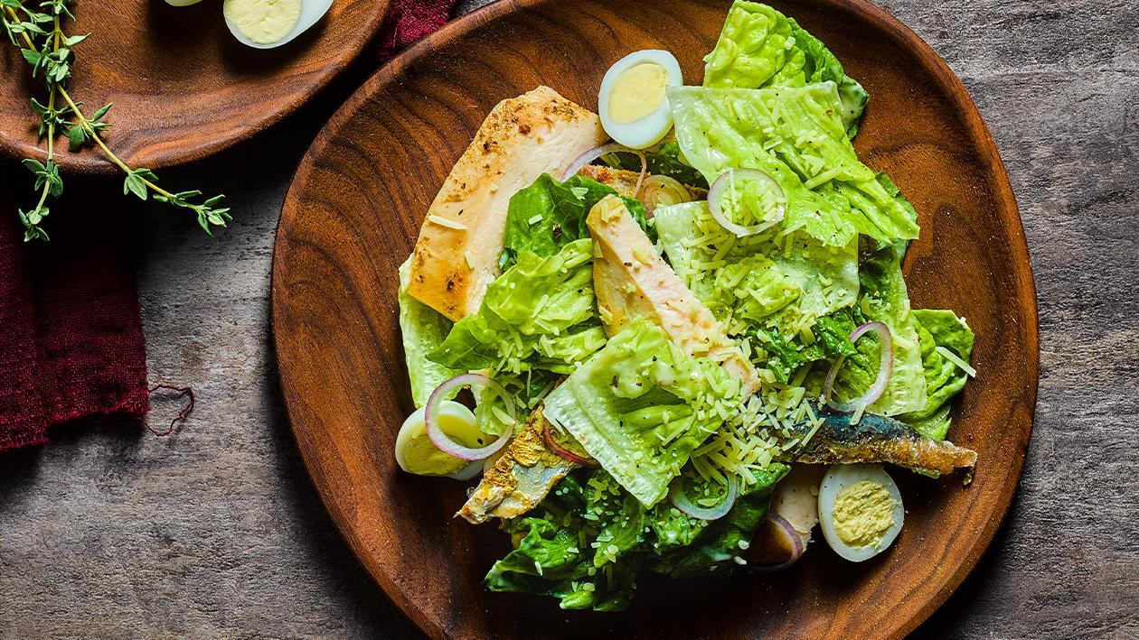 Caesar Salad with Sardines & Chicken