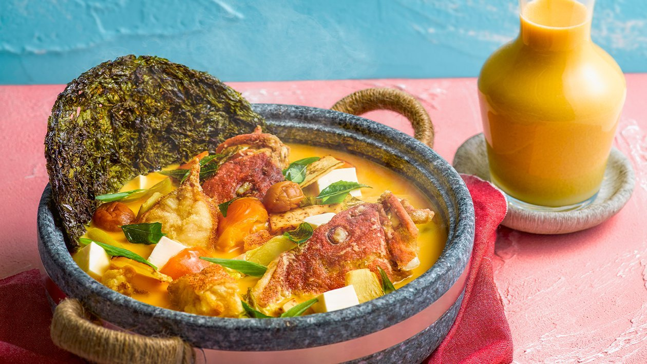 Double Boiled Yam & Red Grouper Salted Egg Hot Pot