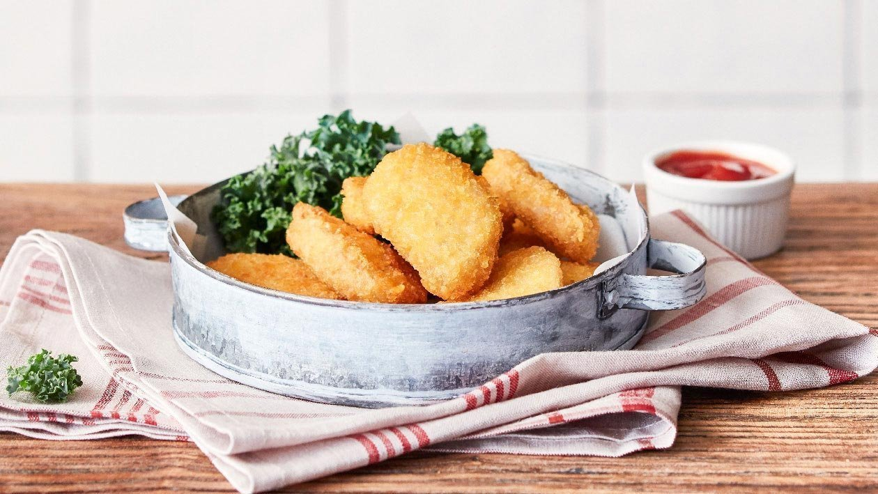 Fried NoChicken Nuggets with Kale, Ketchup