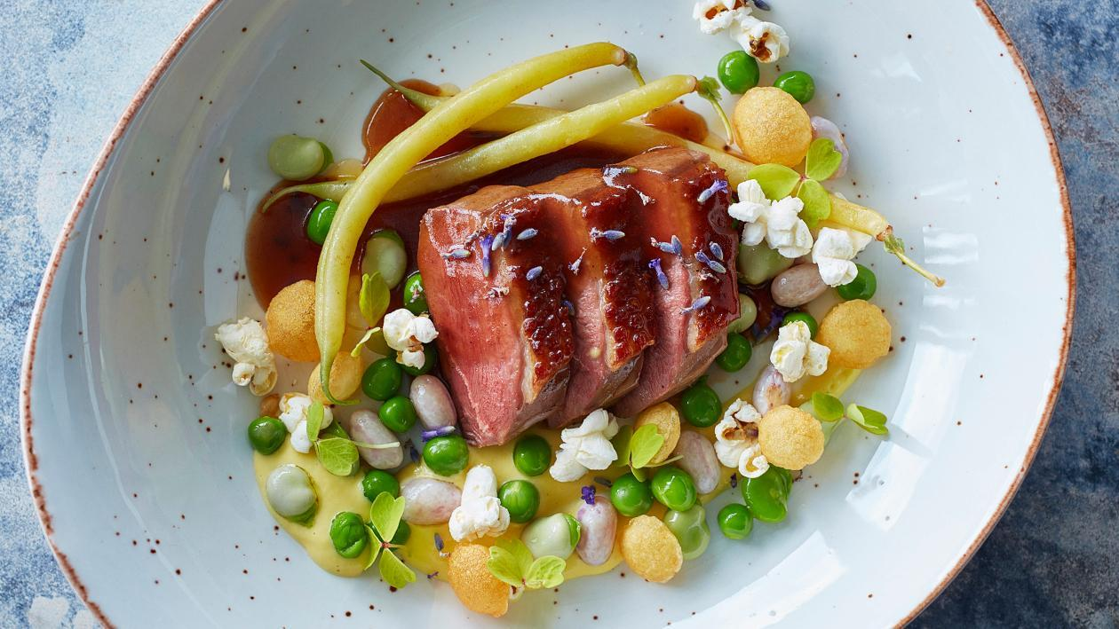 Glazed Duck with Honey, Lavender and Corn Cream