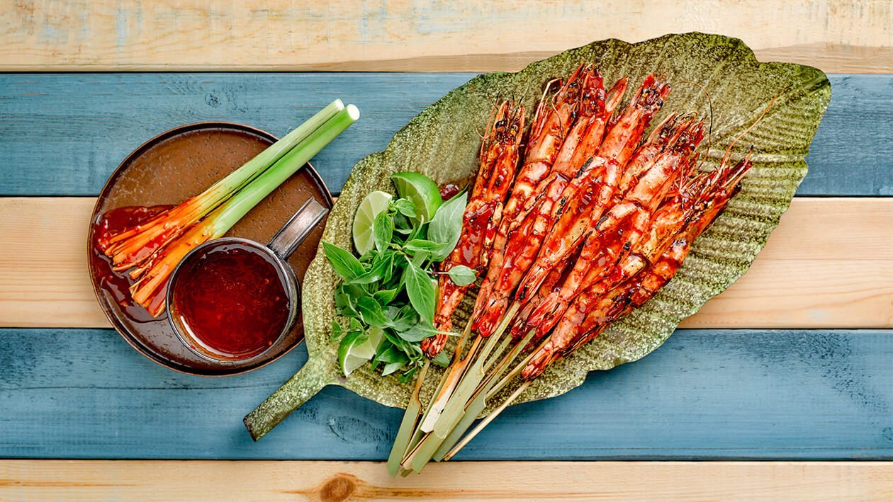 Grilled King Prawn with Tamarind Broad Bean Sauce