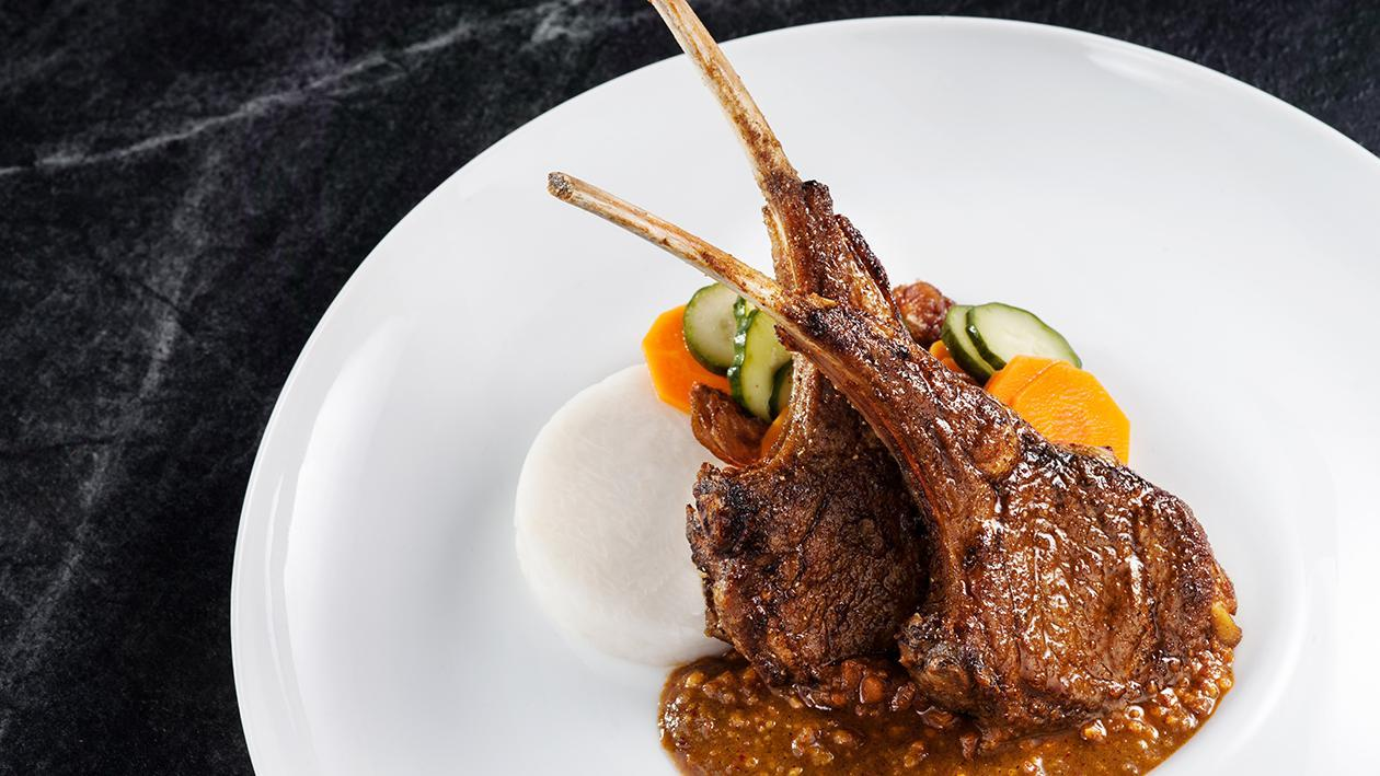 Grilled Spiced lamb Rack with Peanut Sauce
