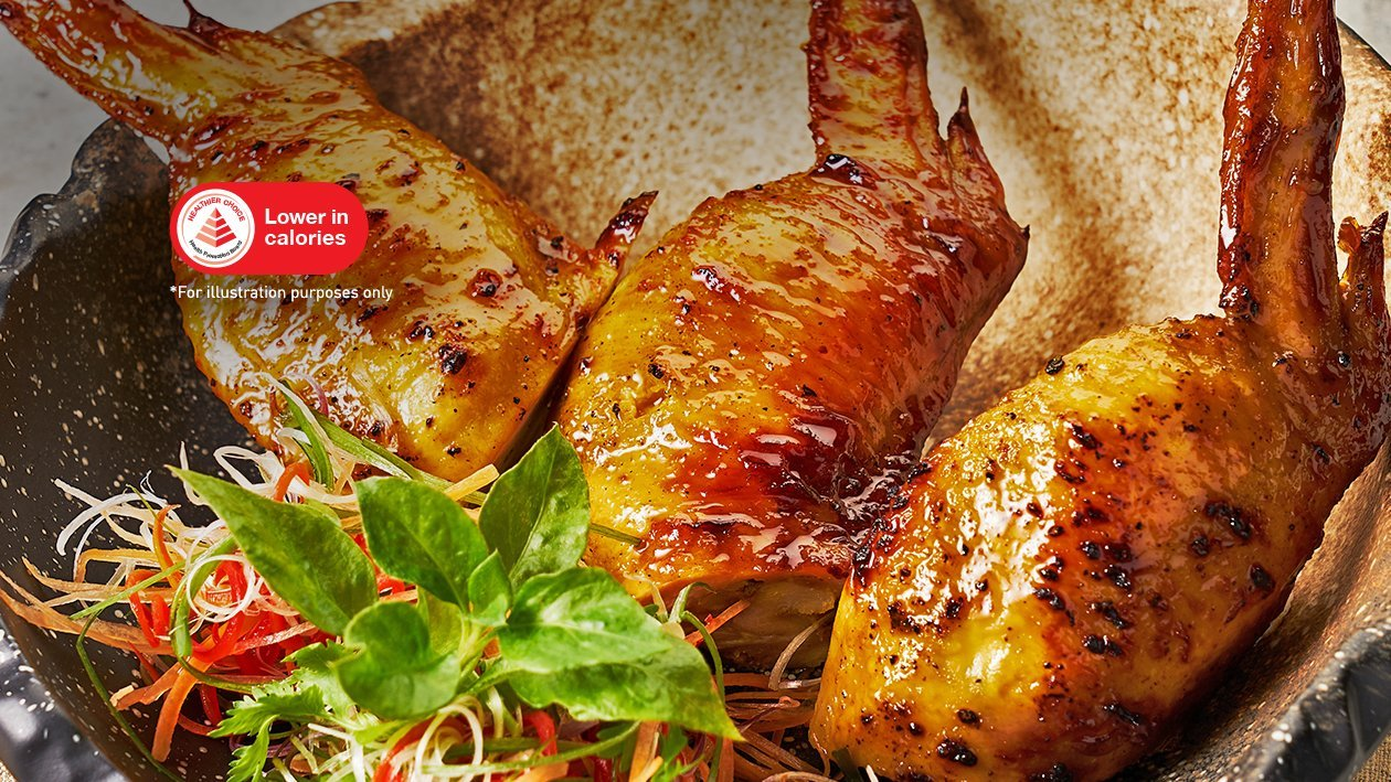 Grilled Stuffed Boneless Chicken Wings with Honey