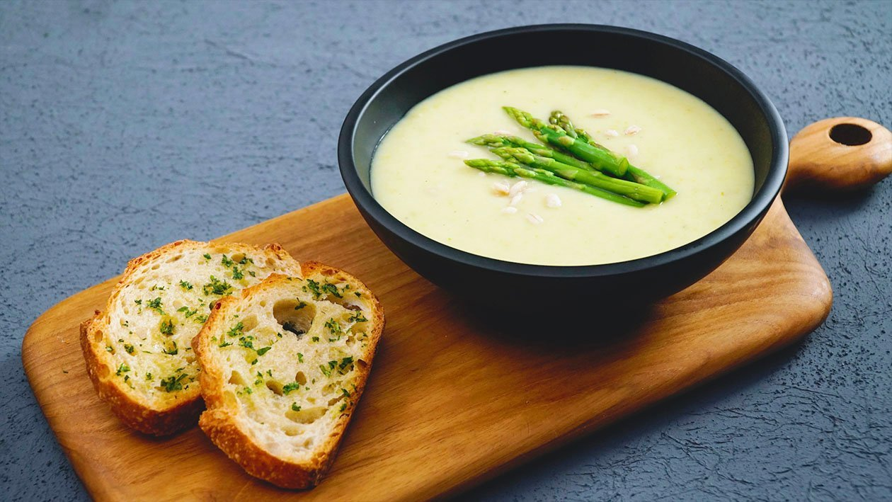 Roasted Asparagus & Onion Soup with Barley
