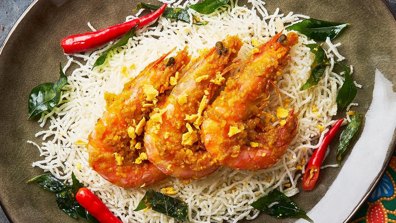 Salted Egg Prawn on Crispy Noodles